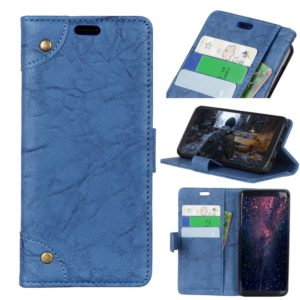 Copper Buckle Retro Crazy Horse Texture Horizontal Flip Leather Case for Huawei Y7 Pro (2019) / Enjoy 9, with Holder & Card Slots & Wallet (Blue)