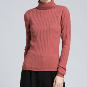 Long Sleeve Slim Fit Turtleneck Women s Knit Sweater, Size: M(Watermelon Red)
