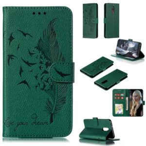 Feather Pattern Litchi Texture Horizontal Flip Leather Case with Wallet & Holder & Card Slots For LG Stylo 5(Green)