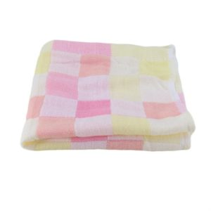 Double Gauze Cotton Bath Towel Adult Baby Water-absorbing Quick-drying Bath Towel(Pink Grid)
