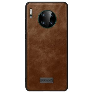For Huawei Mate 30 Pro SULADA Shockproof TPU + Handmade Leather Protective Case(Brown) (SULADA)