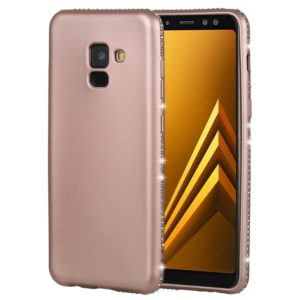 Crystal Decor Sides Smooth Surface Soft TPU Protective Back Case for Galaxy A8 (2018) (Rose Gold)