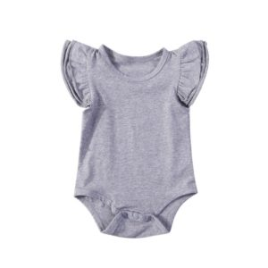 Summer Baby Cotton Ruffled Short-sleeved Round Neck Triangle Romper, Size:70cm(Gray)