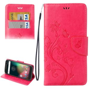 For Motorola Moto G (4rd gen) Plus Pressed Flowers Leather Case with Holder & Card Slots & Wallet(Magenta)