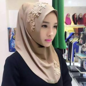Fashion Lace Embroidery Flowers Linen Pullovers Female Scarf Hui Nationality Folk Style Hijab Muslim Scarf (Dark Khaki)
