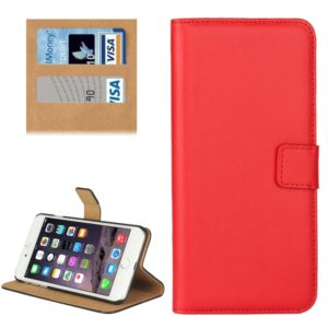 For iPhone 8 Plus & 7 Plus Genuine Split Horizontal Flip Leather Case with Holder & Card Slots & Wallet(Red)