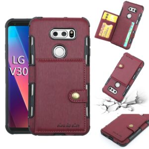 For LG V30 Brushed Texture Shockproof PU + TPU Case, with Card Slots & Wallet & Photo Frame(Wine Red)