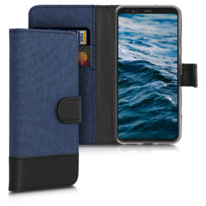 KW Θήκη - Πορτοφόλι Google Pixel 4 - Fabric and PU Leather Flip Cover - Dark Blue / Black (50375.17)