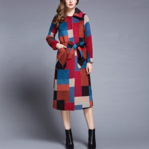 Loose Single-breasted Plaid Wool Coat(Color:As Show Size:XL)