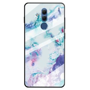 For Huawei Mate 20 Lite Marble Pattern Glass Protective Case(Ink Purple)