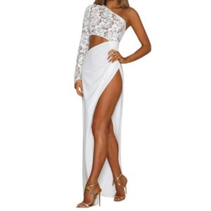 Lace Stitching Shoulder Asymmetric Sleeve Sexy Evening Dress, Size:S(White)