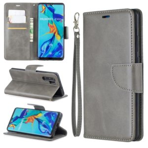 Retro Lambskin Texture Pure Color Horizontal Flip PU Leather Case for Huawei P30 Pro, with Holder & Card Slots & Wallet & Lanyard(Grey)
