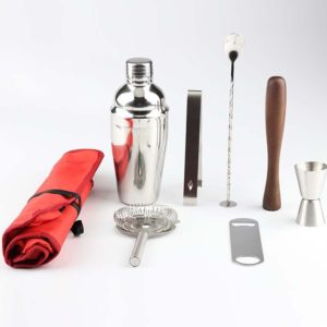 8 in 1 Stainless Steel Wine Cocktail Shaker Tools Set with Cloth Bag, Capacity: 750ml