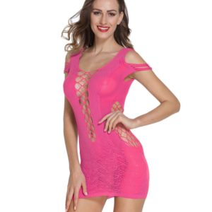FunAdd European Fashion Hollow Lace Mesh Hole Shirt Style Strap Dress Fun Sexy Babydoll Lingerie, Size: Free Size(Magenta) (FunAdd)