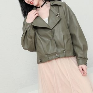 Women Lapel Loose Motorcycle Leather Jacket (Color:Army Green Size:L)