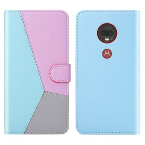 For Motorola Moto G7 / Moto G7 Plus Tricolor Stitching Horizontal Flip TPU + PU Leather Case with Holder & Card Slots & Wallet(Blue)