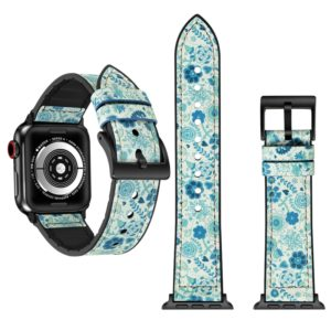 Flower Pattern TPU + Stainless Steel Watch Strap for Apple Watch Series 3 & 2 & 1 42mm (Green)