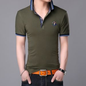 Fashionable Cotton Lapel Short-sleeve T-Shirt for Men, Size: XXL( Army Green )