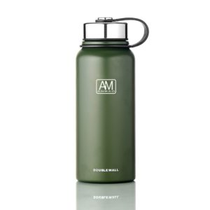 610ml Outdoor Vacuum Stainless Steel Heat Insulation Cup Portable Large Capacity Sports Bottle(Green)