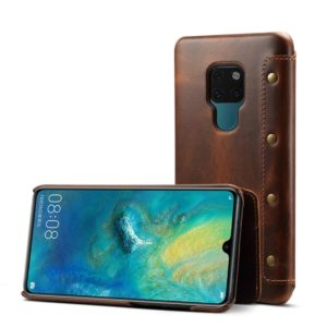 Oil Wax Top-grain Cowhide Horizontal Flip Leather Case for Huawei Mate 20, with Card Slots & Wallet (Denior)