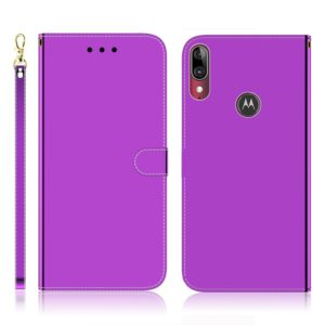 For Motorola Moto E6 Plus Imitated Mirror Surface Horizontal Flip Leather Case with Holder & Card Slots & Wallet & Lanyard(Purple)