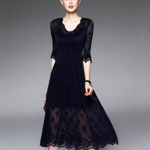 Fashion Style Embroidered Gauze Sleeve Solid Color Pleated Dress (Navy Blue)