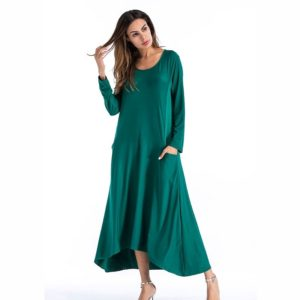 Round Neck Long Sleeve Solid Color Irregular Dress (Color:Green Size:S)