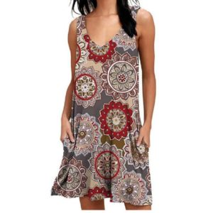 V-neck Print Sleeveless Vest Pocket Dress Casual Knee-length Skirt, Size: XXL(Wheel Ash)