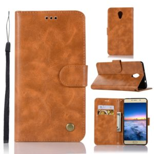 For Lenovo Vibe P2 Retro Copper Button Crazy Horse Horizontal Flip PU Leather Case with Holder & Card Slots & Wallet & Lanyard(Gold Yellow)
