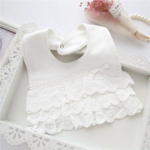 Baby Girl Waterproof Bib Multilayer Cutout Snap Design Princess Rice Pocket(White)