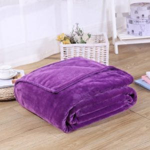 Solid Color Flannel Coral Fleece Blanket Super Soft Plaid Coverlet Sofa Cover Winter Warm Sheets Easy Wash Faux Fur Blankets, Size:100x140cm(purple)