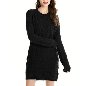 Twisting Sweater Sweater Women S Long Section Knitted Dress, Size: S(Black)