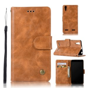 For Lenovo A6000 Retro Copper Button Crazy Horse Horizontal Flip PU Leather Case with Holder & Card Slots & Wallet & Lanyard(Gold Yellow)