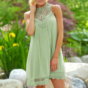 Summer Maternity Dresses Lace Maternity Pregnant Women Clothing(Light Green)