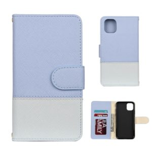 For iPhone 11 Splicing Color Horizontal Flip Leather Case with Holder & Photo Frame & Card Slots & Wallet(Light Blue)