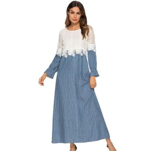 Lace Panel Striped Long Sleeve Dress (Color:Blue Size:XXXL)