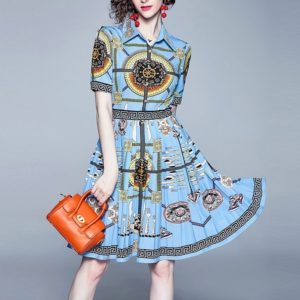 Totem Printing Lapel Waist Pleated Dress (Color:Blue Size:XL)