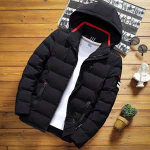 Winter Men Solid Color Short Jacket Slim Warm Hooded Cotton Clothing Casual Youth Down Jacket, Size:XXL(Black)