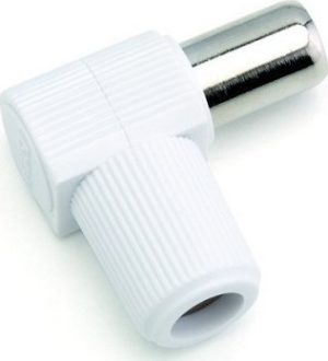POWERTECH CAB-V012 ADAPTOR TV CABLE FEMALE COAXIAL PAL 9.5mm RG6 ADAPTER WHITE ΒΥΣΜΑ ΤΕΛΙΚΟ ΓΩΝΙΑΚΟ ΘΥΛΗΚΟ POWERTECH CABV012 FTT4-002/1