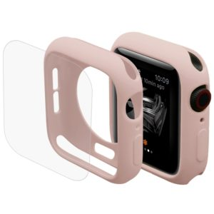 ENKAY Hat-Prince 2 in 1 TPU Semi-clad Protective Shell + 3D Full Screen PET Curved Heat Bending HD Screen Protector for Apple Watch Series 4 40mm(Pink) (ENKAY)
