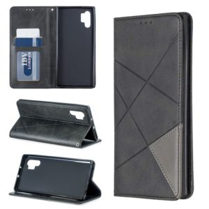 Rhombus Texture Horizontal Flip Magnetic Leather Case with Holder & Card Slots & Wallet For Galaxy Note10+(Black)