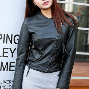 Punk Short Collar Women Leather Jacket