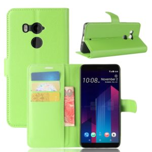 For HTC U11+ Litchi Texture Horizontal Flip Leather Case with Holder & Card Slots & Wallet(Green)