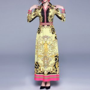 High-end Women Palace Print Dress (Color:Yellow Size:XL)