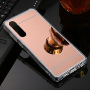 For Huawei P30 TPU + Acrylic Luxury Plating Mirror Phone Case Cover(Rose Gold)