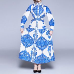 Retro Abstract Print Loose Long-sleeved Big Swing Dress (Color:Blue Size:XL)