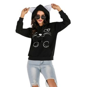 Cat Printed Raglan Sleeves Hooded Loose Hooded Sweatershirt (Color:Black Size:M)