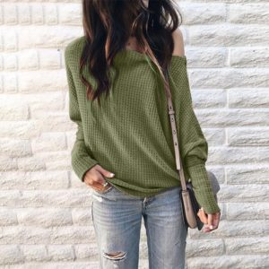 Long Sleeve Loose Printed One-shoulder Knit Shirt (Color:Green Size:XXXXL)