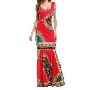 Printed Round Neck Long Sleeveless Slim Dress Beach Skirt, Size:S(Red)