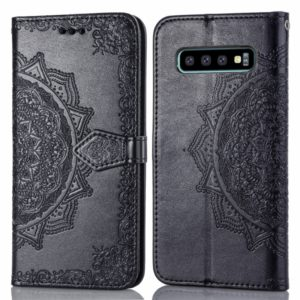 For Galaxy S10 Halfway Mandala Embossing Pattern Horizontal Flip Leather Case with Holder & Card Slots & Wallet & Lanyard(Black)